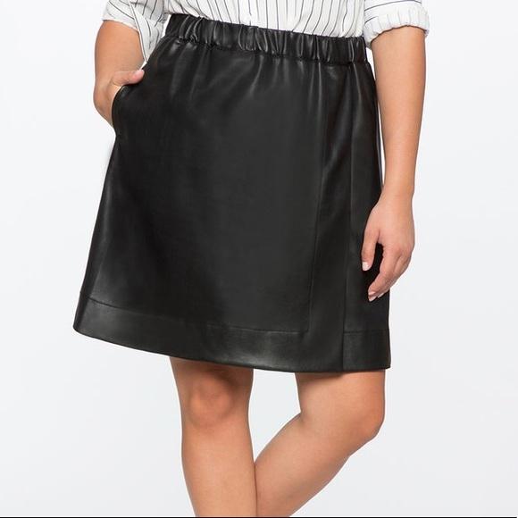 662046d6d83 Black Leather Mini Skater Skirt With Pockets